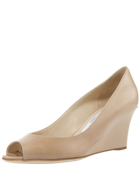 Bale Peep-Toe Patent Wedge Pump