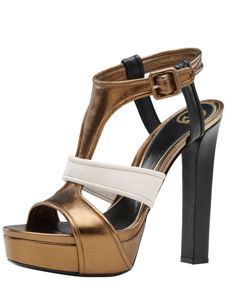 Andie Multicolor Platform Sandal, Bronze/Mystic White/Black
