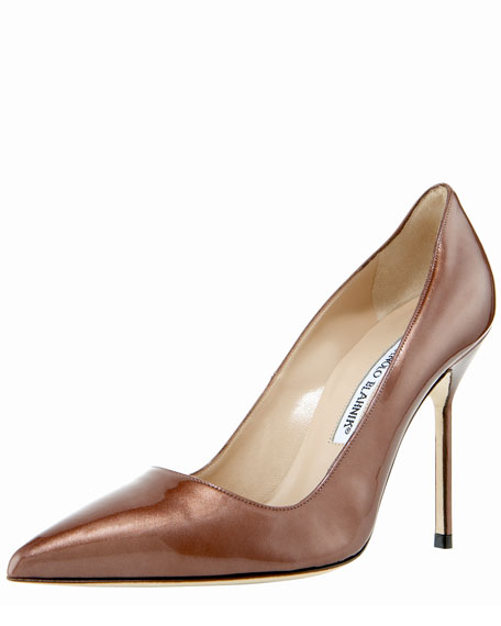 BB Point-Toe Metallic Patent Pump