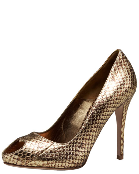 Heart Peep-Toe Snake Pump