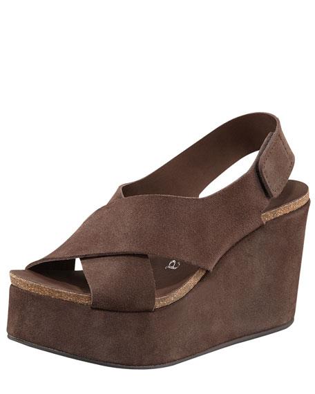 Suede Slingback Cork Wedge Sandal