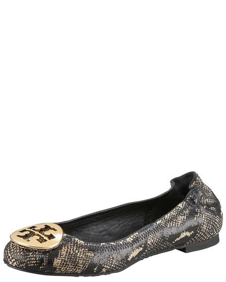 Reva Snake-Print Ballerina Flat