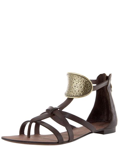 Brushed Ornament Flat Sandal