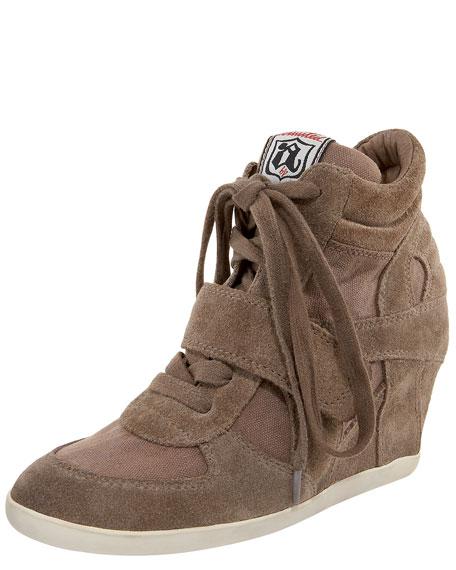Suede & Canvas Wedge Sneaker