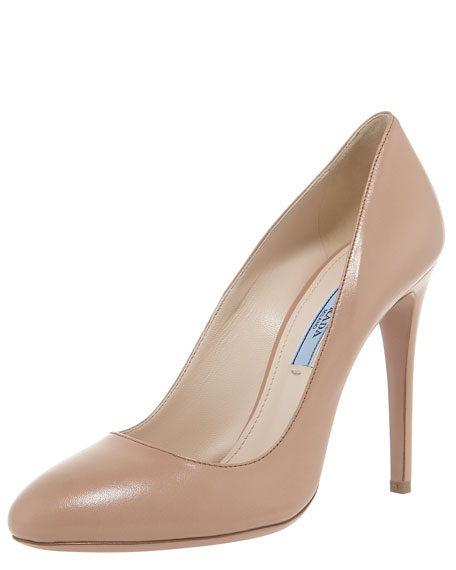 Leather Rounded Toe Pump