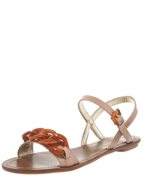 Chain Link Patent Leather Flat Sandal