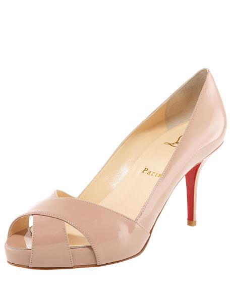 Shelly Patent Crisscross Red Sole Pump