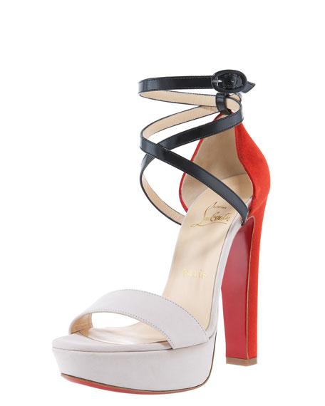 Summerissima Crisscross Platform Sandal, Nude/Marine