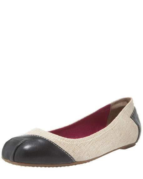 Meridian Leather/Burlap Ballerina Flat