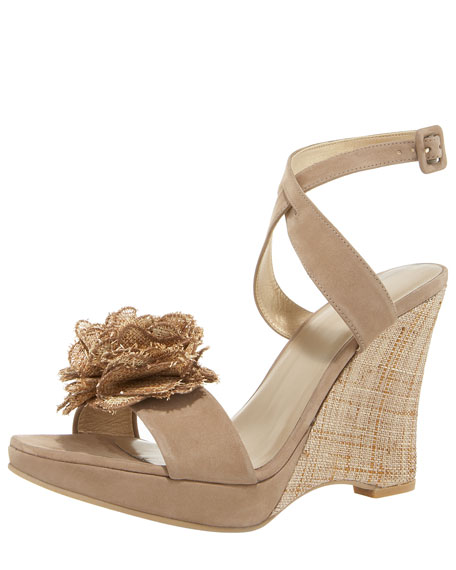 Nubuck & Straw Flower Wedge