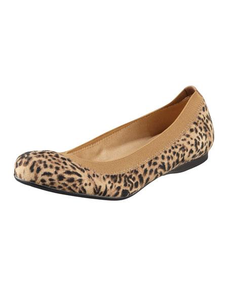 Leopard-Print Suede Ballerina Flat