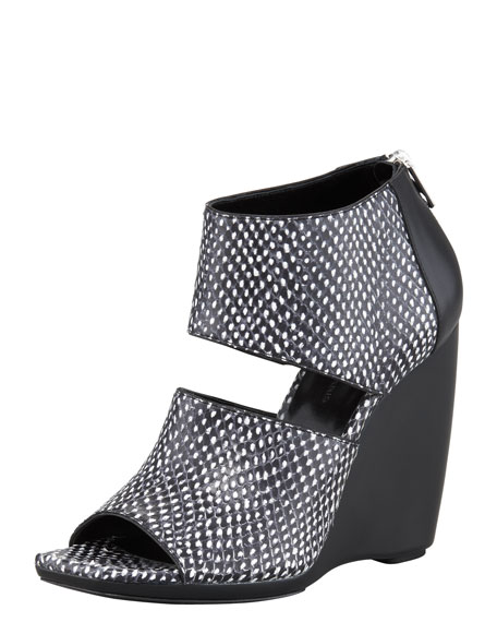Snake-Print Wedge Sandal
