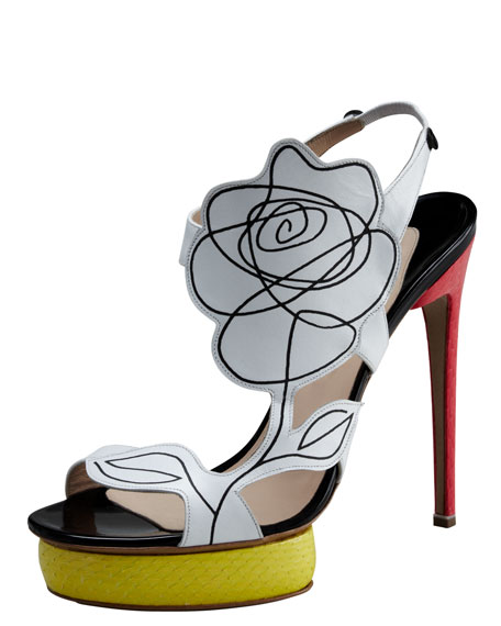 Scribble-Flower Colorblock Sandal
