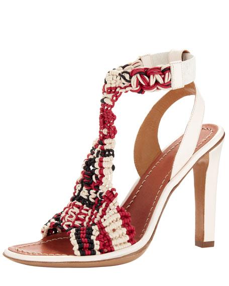 Tribal Crochet T-Strap Sandal