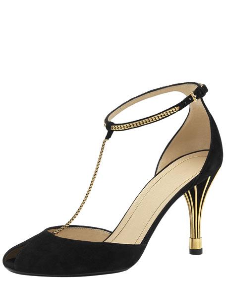 Ophelie Mid-Heel T-Strap Sandal