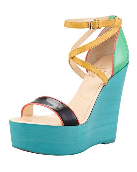Christian Louboutin Colorblock Wedge Sandals buy cheap newest tx69n04eU