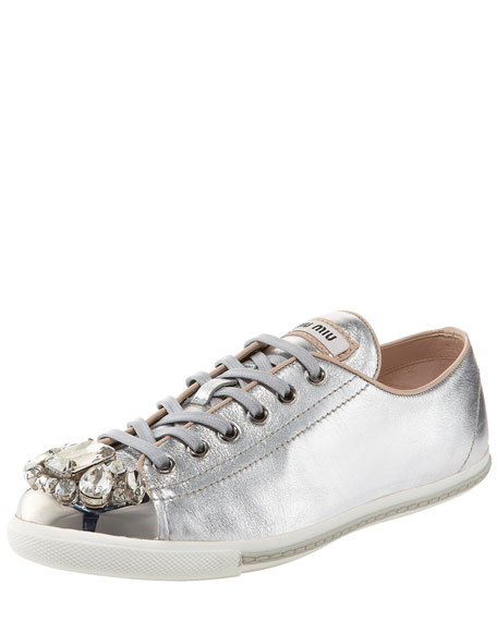 Jeweled Cap-Toe Sneaker