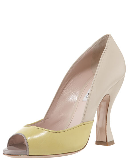 Colorblock Peep-Toe Pump