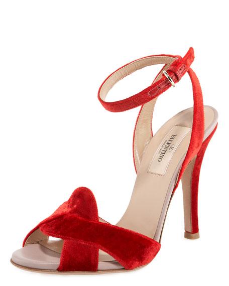 Velvet Ankle Wrap Sandal