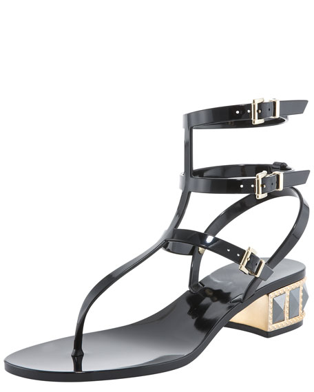 Studded Low-Heel Jelly Thong Sandal