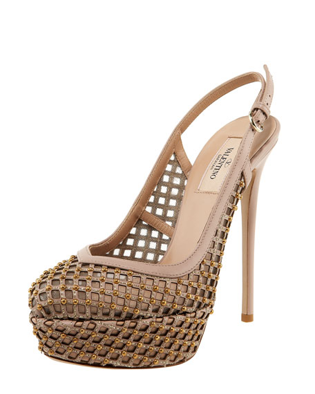 Studded Lattice Platform Slingback