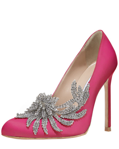 Swan Embellished Satin Pump, Cranberry