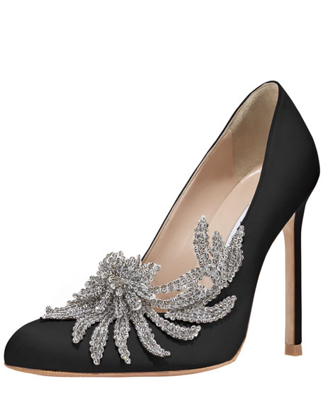Swan Embellished Satin Pump, Black