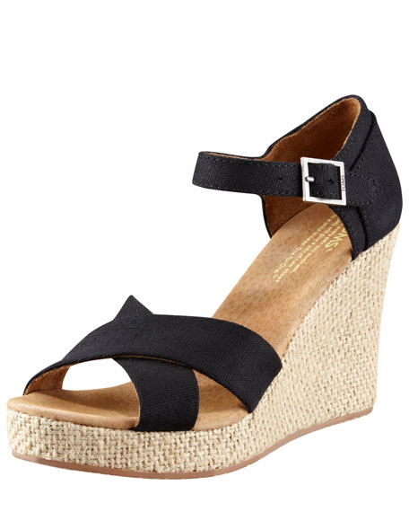 CANVAS CORK WEDGE SANDAL