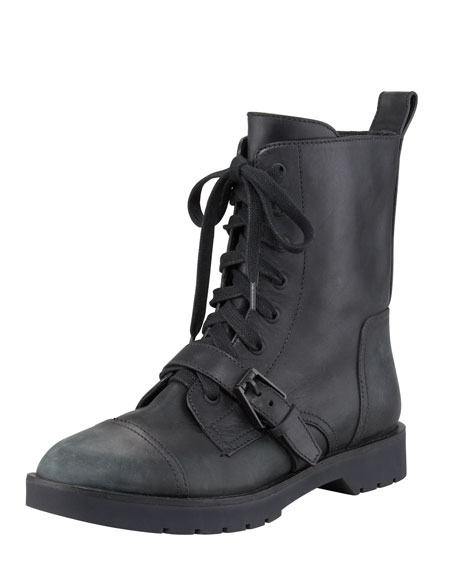 Daria Distressed Leather Combat Boot