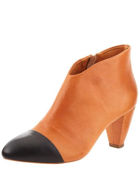 Nanette Cap-Toe Low-Heel Ankle Bootie