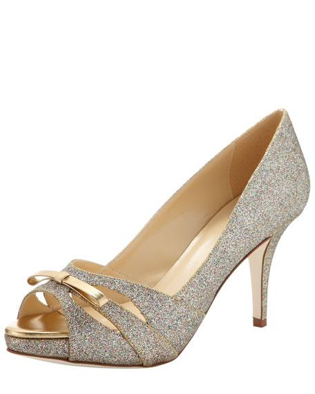 blaire glitter peep-toe pump