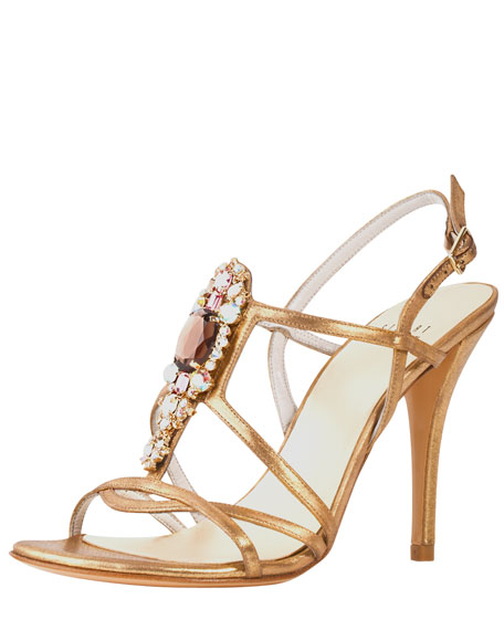 Tsar Satin Jewel-Front Sandal, Gold