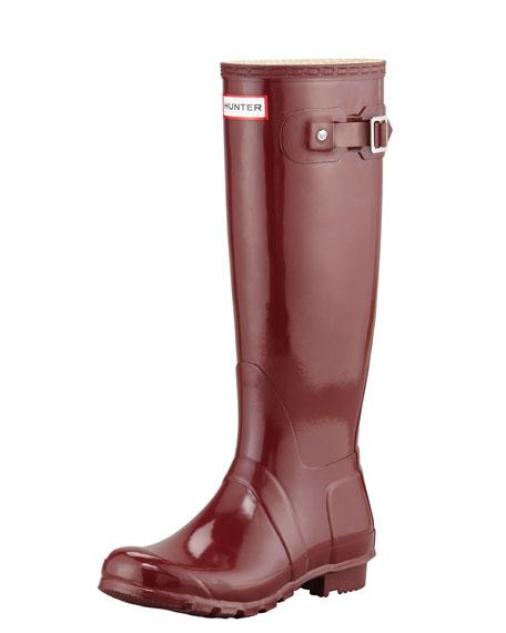 Original Tall Glossy Welly Boot, Merlot