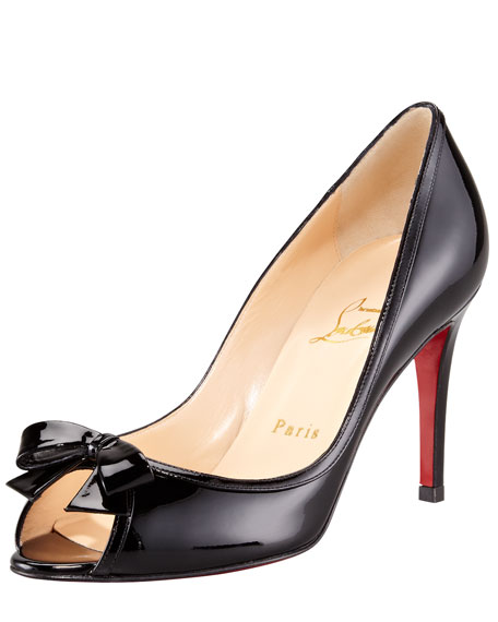 Milady Patent Leather Bow Peep-Toe Red Sole Pump