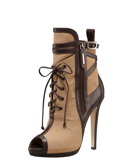 Two-Tone High-Heel Bootie