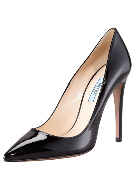 Pointed Patent Leather Pump, Black