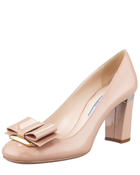 Patent Leather Block-Heel Bow-Toe Pump