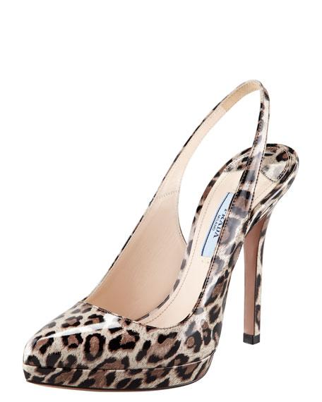 Leopard-Print Patent Leather Slingback