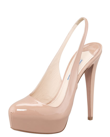 Patent Leather Platform Slingback Pump