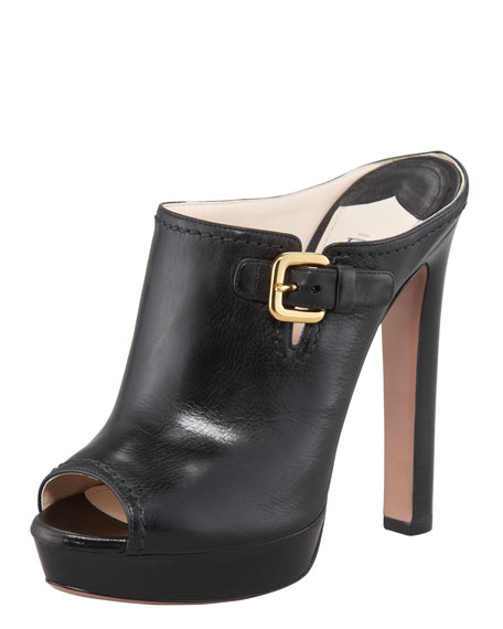 Leather Side-Buckle Mule