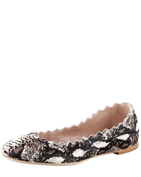 Snake-Print Calf Hair Ballerina Flat
