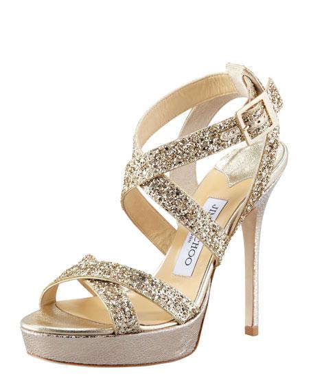 Vamp Glitter-Strap Sandal