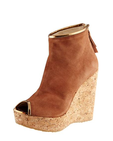 Paw Cork-Wedge Suede Bootie