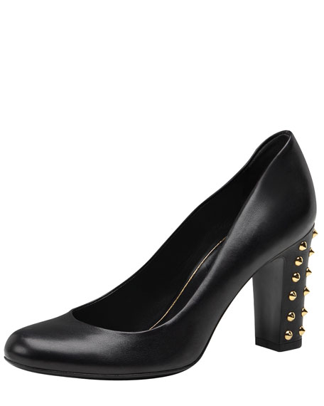Studded Mid-Heel Pump