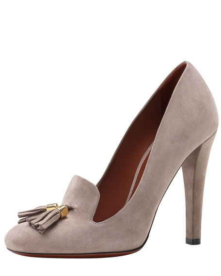 Suede Tassel Loafer Pump