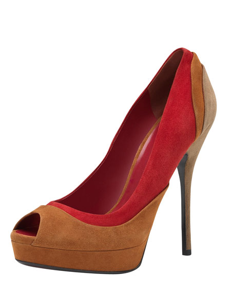 Suede Colorblock Platform Pump