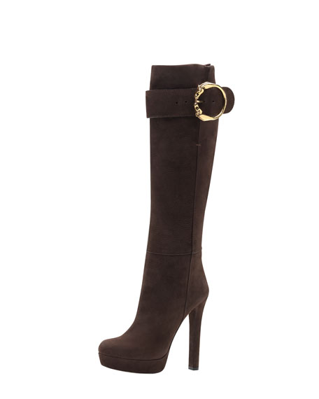 Suede High-Heel Boot