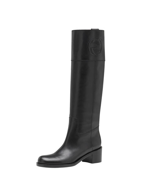 GG-Stitched Leather Riding Boot