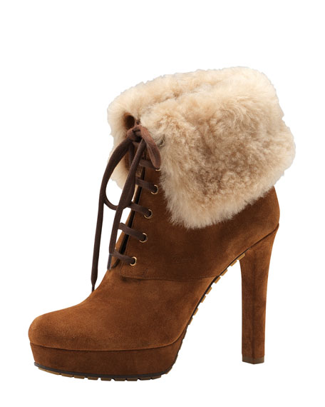 Shearling-Cuff Suede Bootie