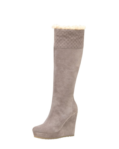 Shearling-Lined Suede Wedge Boot
